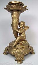 Antique Lamp Base Candle Holder cherub cornucopia shaft figural dauphin footed
