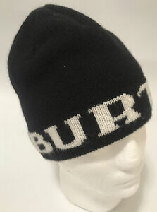 Reversible Burton Winter Hat Snowboarding Beanie Cap Black & White Mountain