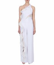 Jonathan Simkhai White Diamond Mesh One Shoulder Ruffle Jumpsuit Size 6 $995