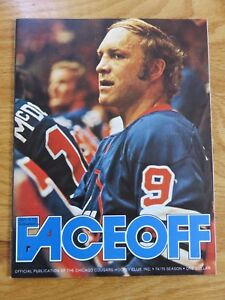 1/4/75 WHA Faceoff CHICAGO COUGARS vs INDIANAPOLIS RACERS Program BOBBY HULL