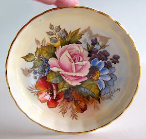 Rare Vintage Aynsley Signed J.A. Bailey Cabbage Rose Pattern Berry Bowl / Saucer