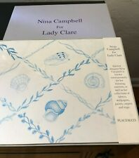 Nina Campbell for Lady Clare Set of 4 Blue Shell Trellis Luncheon Placemats NIB