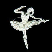 BALLERINA made with Swarovski Crystal BALLET DANCER Dance Jewelry Pin Brooch NEW