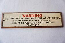 More details for railway railroad carriage warning orignal railway sign railwayana