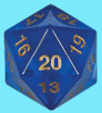 KOPLOW GAMES 55MM TRANSLUCENT BLUE w/ GOLD DIE D20 Countdown Sapphire Dice MTG