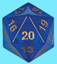 KOPLOW GAMES 55MM TRANSLUCENT BLUE w/ GOLD DIE D20 Countdown Sapphire Dice MTG