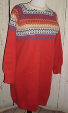Vintage Tigi-Wear Italy Womens Sweater Dress Chevron striped SZ M lagenlook