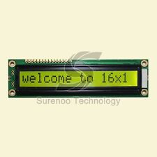 Larger 1601 16X1 161 Character LCD Module Display Screen LCM Black on Yellow