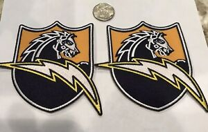 """(2)-Los Angeles Chargers CLASSIC  Embroidered Patches 4"""" x 3.5"""" NFL  Beautiful!!"""