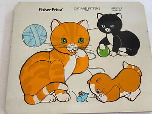 Vintage Wood/Wooden Jigsaw Puzzle Fisher Price Cat and Kitten Made Belgium
