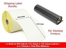 """Shipping Bundle. 500 4"""" x 6"""" White labels plus 2 x 110mm x 74m Wax Ribbons."""