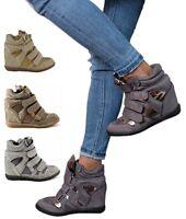 Damen Sneaker Keilabsatz Wedges 7cm Damenschuhe Stiefeletten grau, khaki, beige