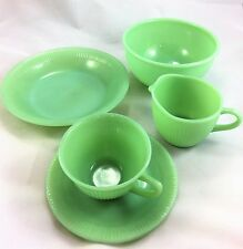 Fire King Jadeite lot cereal bowl Jane Ray ribbed edge cup saucer plate creamer