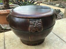 Antique  Wooden Rice  Chinese Basket Handmade