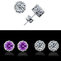 Crystal Elegant 925 Sterling Silver Women Round Cubic Zirconia Ear Stud Earring