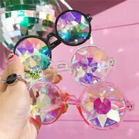 Festival Rave Kaleidoscope Round Rainbow Glasses Prism Diffraction Crystal Lens