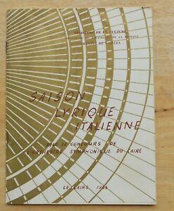 Vintage program  Saison Lyrique Italienne 1966