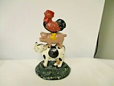 Painted Cast Metal Farm Animals Door Stop-Rooster, Pig, Cow Figural