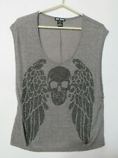 HOT TOPIC Womens Tank Top Shirt Skull With Wing grey Size