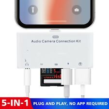 5in1 Lightning to USB Camera Memory SD Card Reader 3.5mm Jack Adapter For iPhone