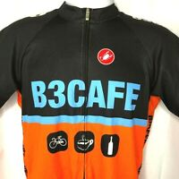 B3 Cafe Castelli Team Full Zip Cycling Jersey Slim 44 2XL Bikes Beans Bourdeaux