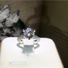 2.10Ct Round Cut VVS1/D Diamond Solitaire Engagement Ring 14K White Gold Finish