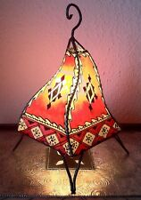 Painted Moroccan Henna Table / Floor Lamp- square- red-cream 38 cm