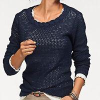schöner Pullover Gr.48/50 XL Ajour DUNKEL BLAU Zopfverzierung 100%Baumwolle