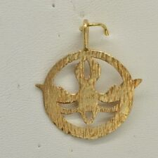 Cw21 14 K Gold Comfirmation Soaring Dove Charm On A Round Disk
