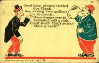 Vintage Postcard, Beer Drinking & humour , early 1900's