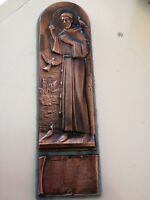 San Francesco piastra bassorilievo in rame 20 x 7cm