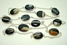 """Silver 12 Station Necklace 28-36"""" Ab One-of-a-Kind Black Multi Botswana Agate"""