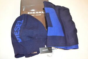 DIESEL Man's FROTLIB KIT Logo Premium Scarf and Hat NEW   Size 12in x 63in