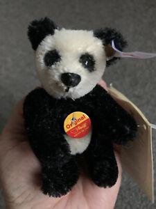 Steiff Little Foo Mohair Jointed Panda Bear Keyring Ean 667688 New W/tags NR