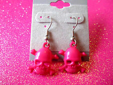 Hot Pink Skull Cross Bone Earrings