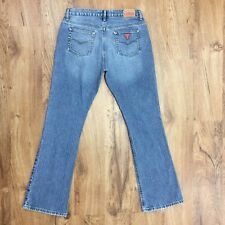 Guess USA Distressed 100% Cotton Boot Cut Jeans Red Patch Women's Size 28