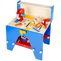 30+ Pc Kids Red & Blue Wooden Tool Bench Saw Work Table Children's Play Toy Gift