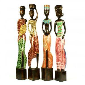 African figurines very large painted wood carvings bundle