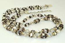 VINTAGE VENDOME MIRRORED FACETED CRYSTAL 2 STRAND NECKLACE 23 to 25 INCHES LONG