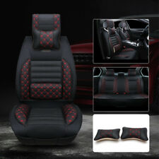 Car Seat Cover 5-Seats SUV Sedan Front & Rear PVC Leather Cushion w/ Neck Pillow