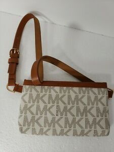 Michael Kors Sz M Signature MK Leather Fanny Pack Belt Bag Luggage MSRP $68 NWT