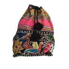 Peruvian handwoven alpaca wool backpack rucksack bag ethnic boho tribal