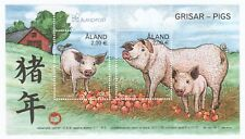 ALAND 2018 YEAR OF PIG 2019 SOUVENIR SHEET OF 2 STAMPS IN MINT MNH UNUSED