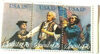 USA Spirit of 76 Block of 3 US 13 Cent Postage Stamps MNH