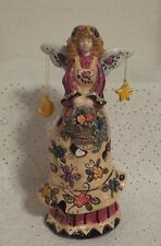 """New listing 11"""" Tall Ceramic Colorful Garden/Spring Angel Candle/Votive Holder"""