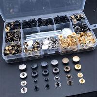 120 Set Bottoni Automatici Supporto Base Metallo Borsa in pelle Giacca