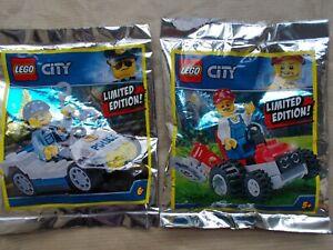 NEW LEGO CITY LIMITED EDN 2 CITY MINIFIGURES GROUNDSMEN MOWER POLICEMAN & CAR