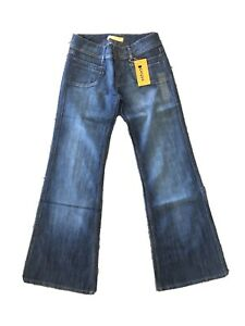 Wide Leg Bootcut Mid Rise Dark Blue Jeans Size 12 14 Rounded Pocket