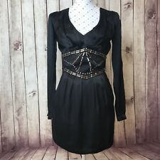 HUSSY Dress Size 8 Cocktail Party Black Evening Short LBD Embellished