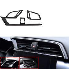 For Honda Civic 2016-17 3x Carbon Fiber Front Air Condition A/C Vent Cover Trim